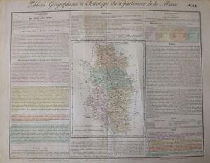 Contemplatif Carte Du Département De La Meuse, Vers 1820