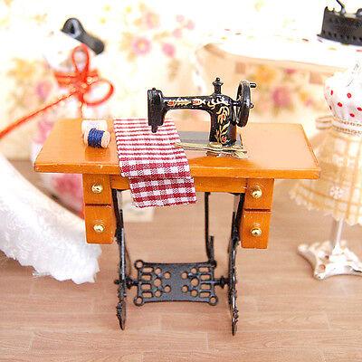 Retro Vintage Miniature Furniture Sewing Machine 1:12 Scale Barbie Dollhouse Neu