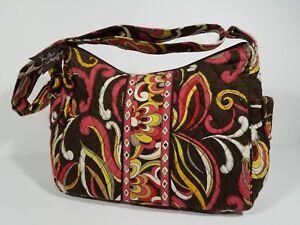 Vera-Bradley-brown-pink-zippered-shoulder-bag-purse