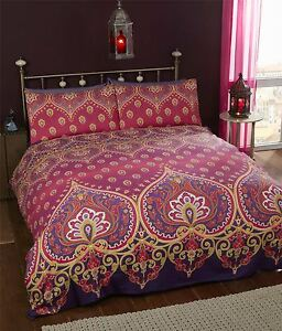 Image Is Loading Indian Henna Style Red Purple Cotton Blend Double