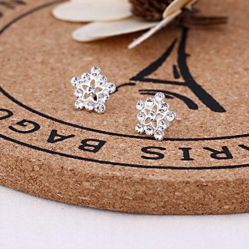 Studs 925 Crystal Silvering Jewelry Women wedding Rhinestone Ear Earrings Silver