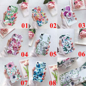 For-iPhone-XS-Max-XR-6s-7-8-Plus-Flower-Pattern-Stand-Holder-Soft-TPU-Case-Cover