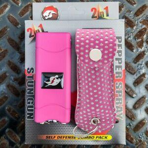 Combo Gift Set Rechargeable Stun Gun + Pepper Spray w LED LIGHT + PINK CASE