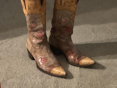 Preowned  Old GRINGO Leather Orange pink Cowboy Bo