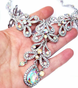 Necklace-Earring-Rhinestone-Crystal-Pageant-Drag-Queen-Bridal-Prom-AB-Statement