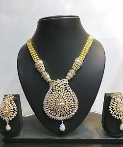 Bollywood-Gold-Plated-CZ-Pearl-Ethnic-Indian-Fashion-Jewelry-Necklace-Set