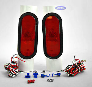 Pipe lights led pvc pair for boat trailer guide poles.