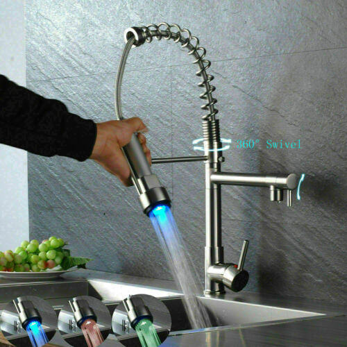 Commercial LED Kitchen Sink Faucet Brushed Nickel Mixer Tap W// Pull Down Sprayer