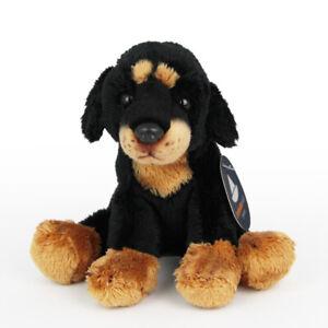 Stofftier kleiner Rottweiler, sitzend, Hund, Plüschtier (H. ca. 11 cm)