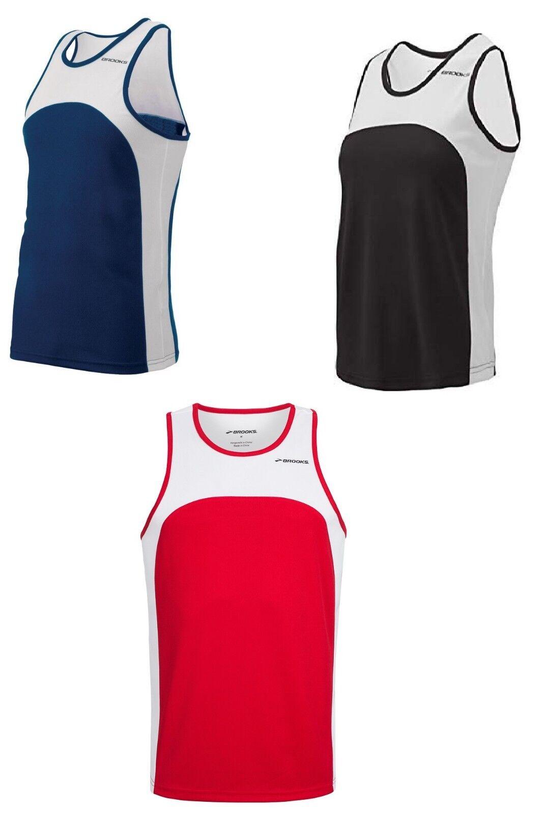 Brooks Sprint Running Singlet Navy Mens Vest Gym Training Workout Tank Top