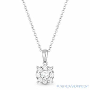 0.31 ct Round Brilliant Cut Diamond Pendant & Chain Necklace in 14k White Gold