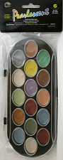 Yasutomo Pearlescent Watercolor Set, 16 Colors, Portable Case w/Hinged Lid