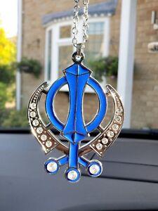 Punjabi Sikh Kaur Singh Golden Stones Khanda Car Rear Mirror Hanging Pendant