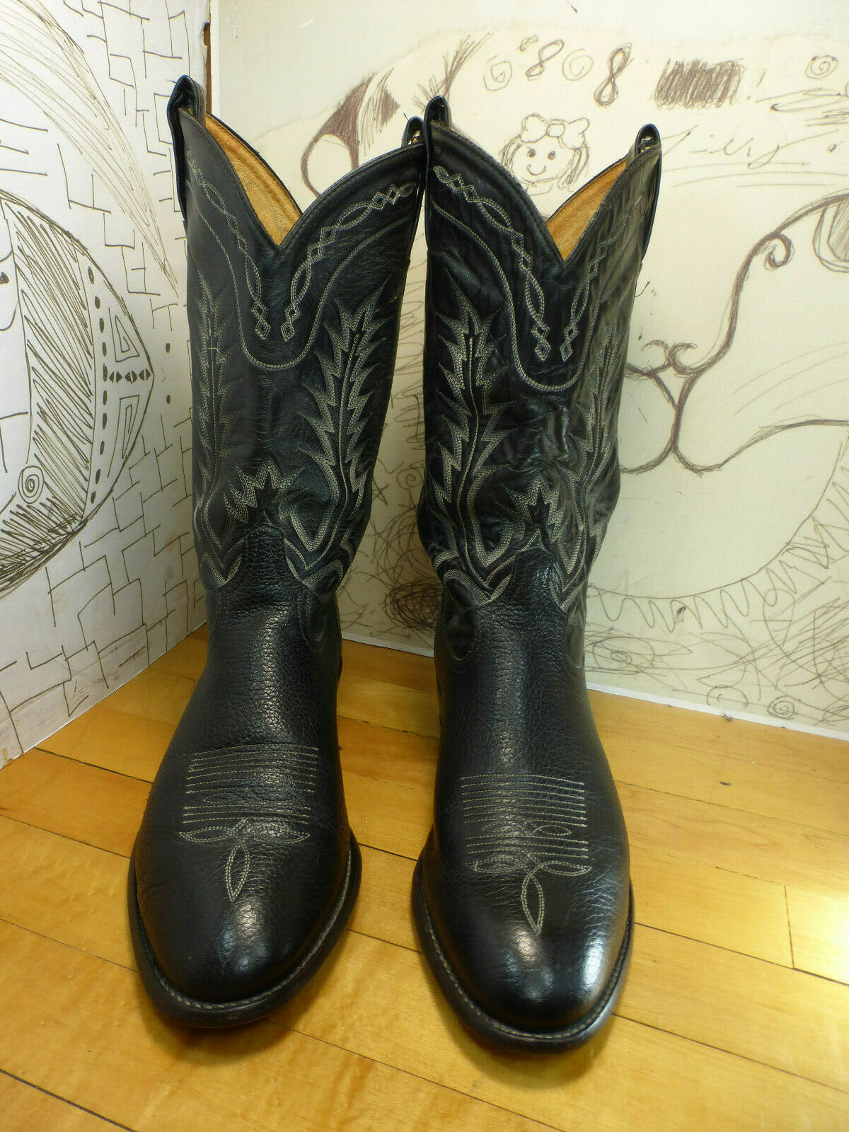 Tony Lama negro botas de cuero hombre 10EE Hecho en EE. UU.