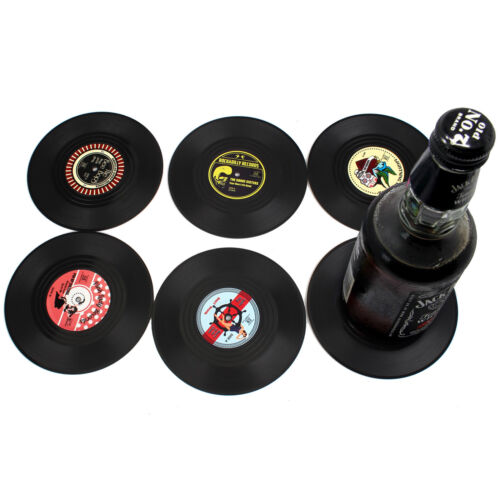 Drink Coasters Set of 4//6 Non Slip Silicone Round Disc Shapes Drink Coaster