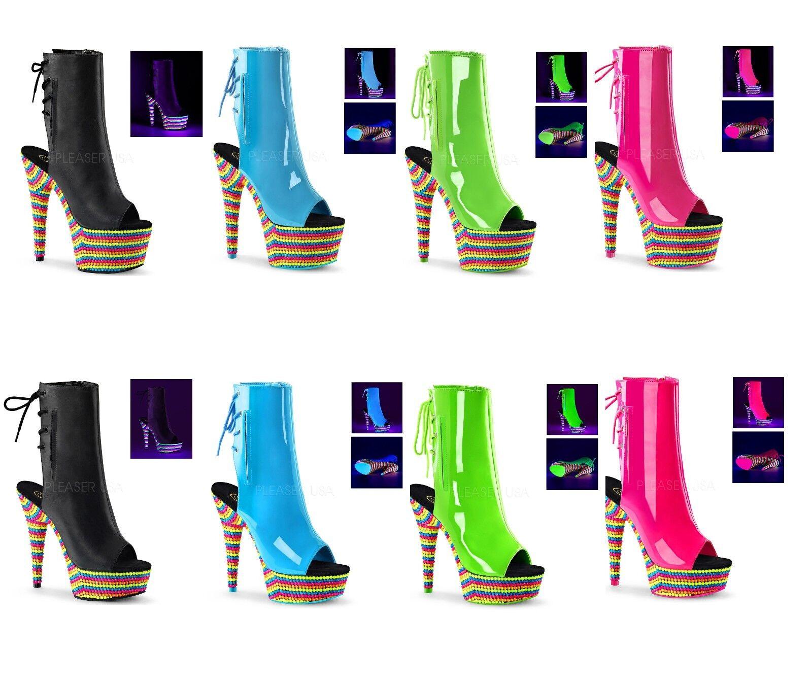 PLEASER ADORE DELIGHT 1018RBS Exotic Dancing Platform boots UV Reactive Stone