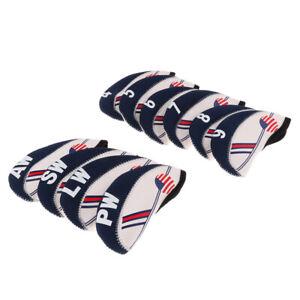 New-10pcs-USA-Flag-Neoprene-Golf-Club-Iron-Head-Cover-Headcover