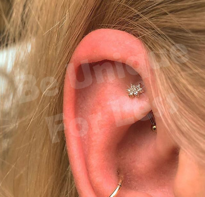 Rook Cz Floral Bar Cartilage Earring Tragus Rook Nose Ring Hoop