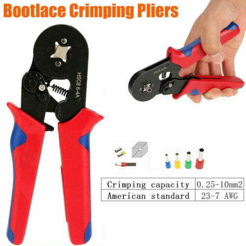 0.25-10mm² Bootlace Ferrule Hand Crimper Crimp Crimping Tool Plier Wire Cord End