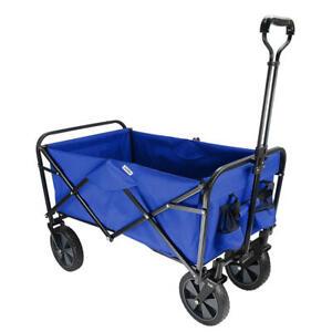 Folding Beach Outdoor Wagon, Collapsible Utility Garden Shopping Cart - Blue