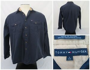 793383fb Tommy Hilfiger Men Button Down Shirt Size Large Long Sleeve Dark ...