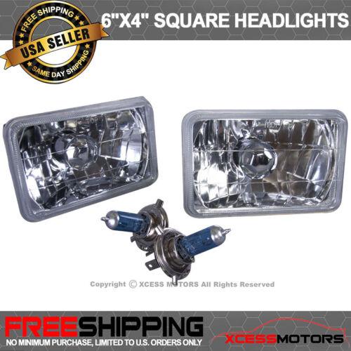 Fits 4 X 6 Sealbeam Headlights Head Lamps Chrome Crystal
