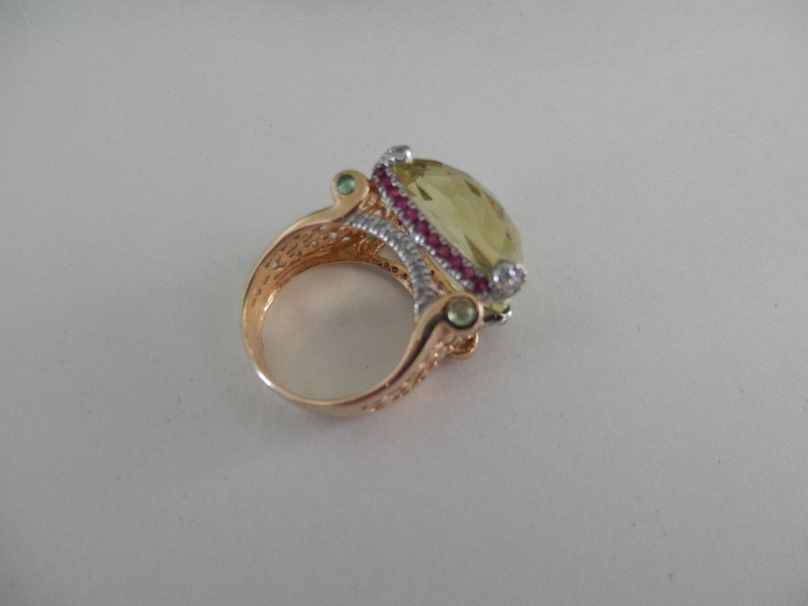 14k Yellow gold Citrine Tsavorite Diamond Ruby Ring  Sz 6