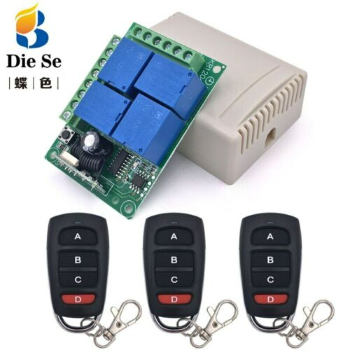 DC12V 4CH Universal RF Wireless Relay Remote Control Switch Receiver Transmitter