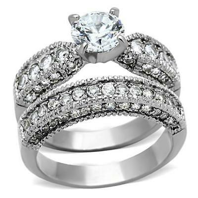 1318 ENGAGEMENT & BAND WEDDING SET  SIMULATED DIAMOND RING PAVE STAINLESS STEEL