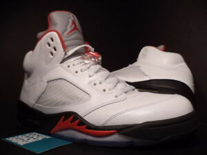 low priced 4f1aa df106 Image is loading Nike-Air-Jordan-V-5-Retro-WHITE-FIRE-