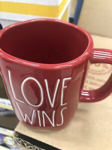 "New Rae Dunn by Magenta L/L ""LOVE WINS"" All-Red ❤️❤️Valentine's Day Mug HTF"
