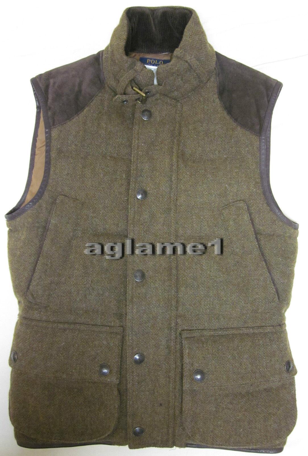 NWT Ralph Lauren wool down Leder trim hunting vest S Small