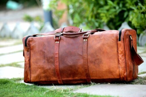 """24/""""Men Brown Vintage Handcrafted Genuine Leather Travel Luggage Duffle Gym Bags"""