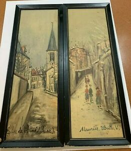 "2 Maurice Utrillo (French, 1883-1955) Prints Eglise de Strins (Seine)"" 25"""