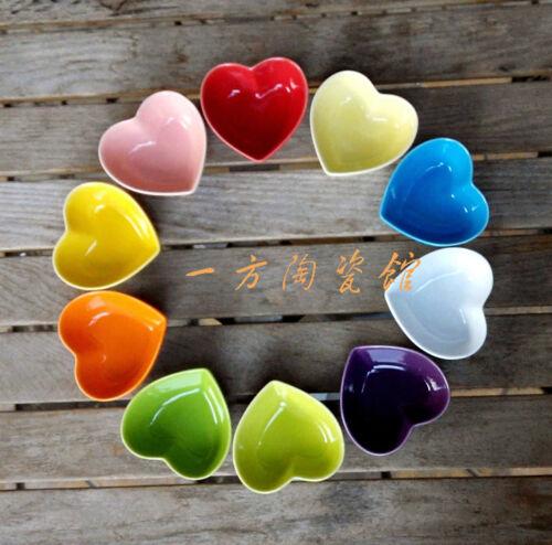 Cool Céramique Condiment plaque Assaisonnement Support soucoupe Plat Coloré Cœur Forme