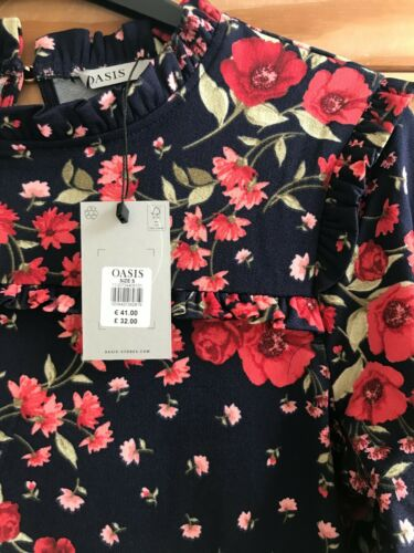 OASIS 2020 SEASON NEW Navy Blue Red Poppy Floral Frill Top Size 6-10 RRP=£32