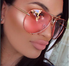 Aviator Super Poshe Gradient Lens Twirl Metal Design Frames Women Sunglasses RED