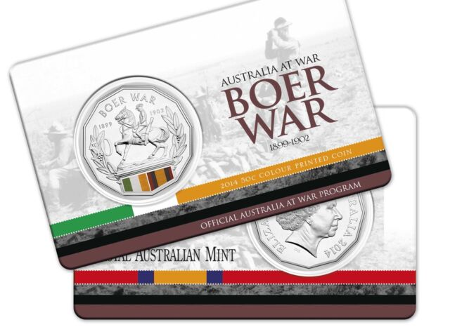 2014 Australia at War Series - Boer War - Coloured 50c Coin