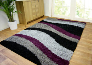 LARGE-THICK-GREY-SILVER-BLACK-PURPLE-AUBERGINE-WAVEY-SHAGGY-SOFT-DEEP-PILE-RUG