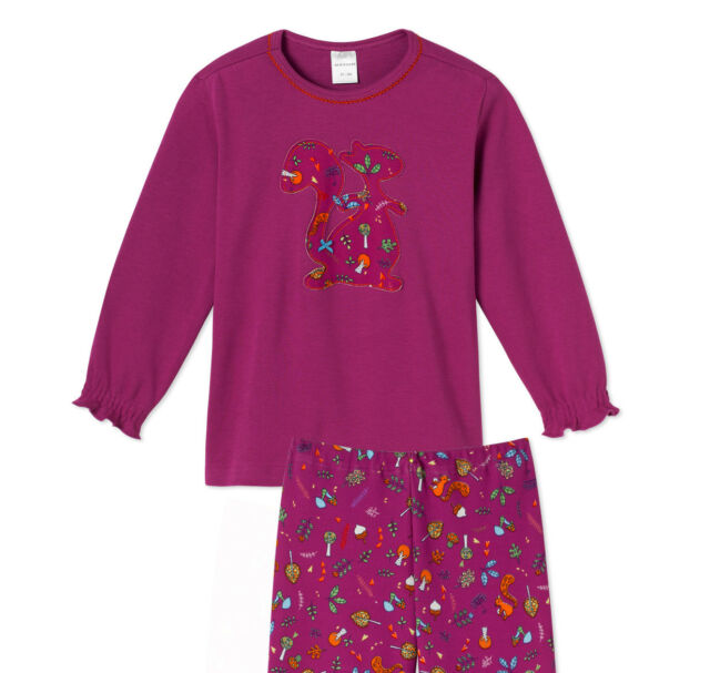 Schiesser Schlafanzug lang Mädchen Baumwolle Eichhörnchen NEU