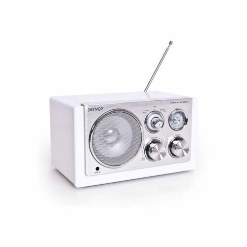Tragbares Mini-Radio AM//FM Teleskop Antenne Miniradio Camping Denver TR-61 weiß