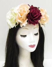 Large Red Cream Rose Flower Sugar Skull Headband Halloween Big Hair Band 788
