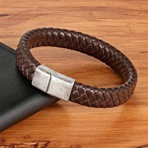 Herren Leder Armband geflochten Edelstahl Magnetverschluss Schwarz Armreif 22 cm