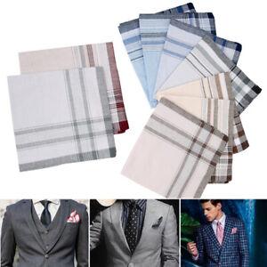 10Pcs-Set-100-Cotton-Men-039-s-Handkerchiefs-Hankie-Assorted-Square-Handkerchief-UK