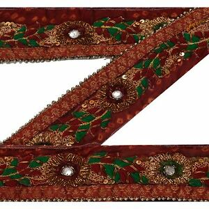 Linens & Textiles (pre-1930) Trims Sanskriti Vintage Sari Border Indian Craft Bandhani Trim Hand Beaded Sewing Lace
