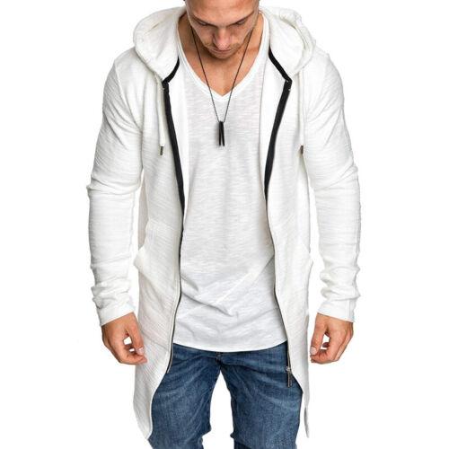 Homme à Manches Longues Sweat à Capuche De Sport Fermeture Éclair Long Jacket Outwear