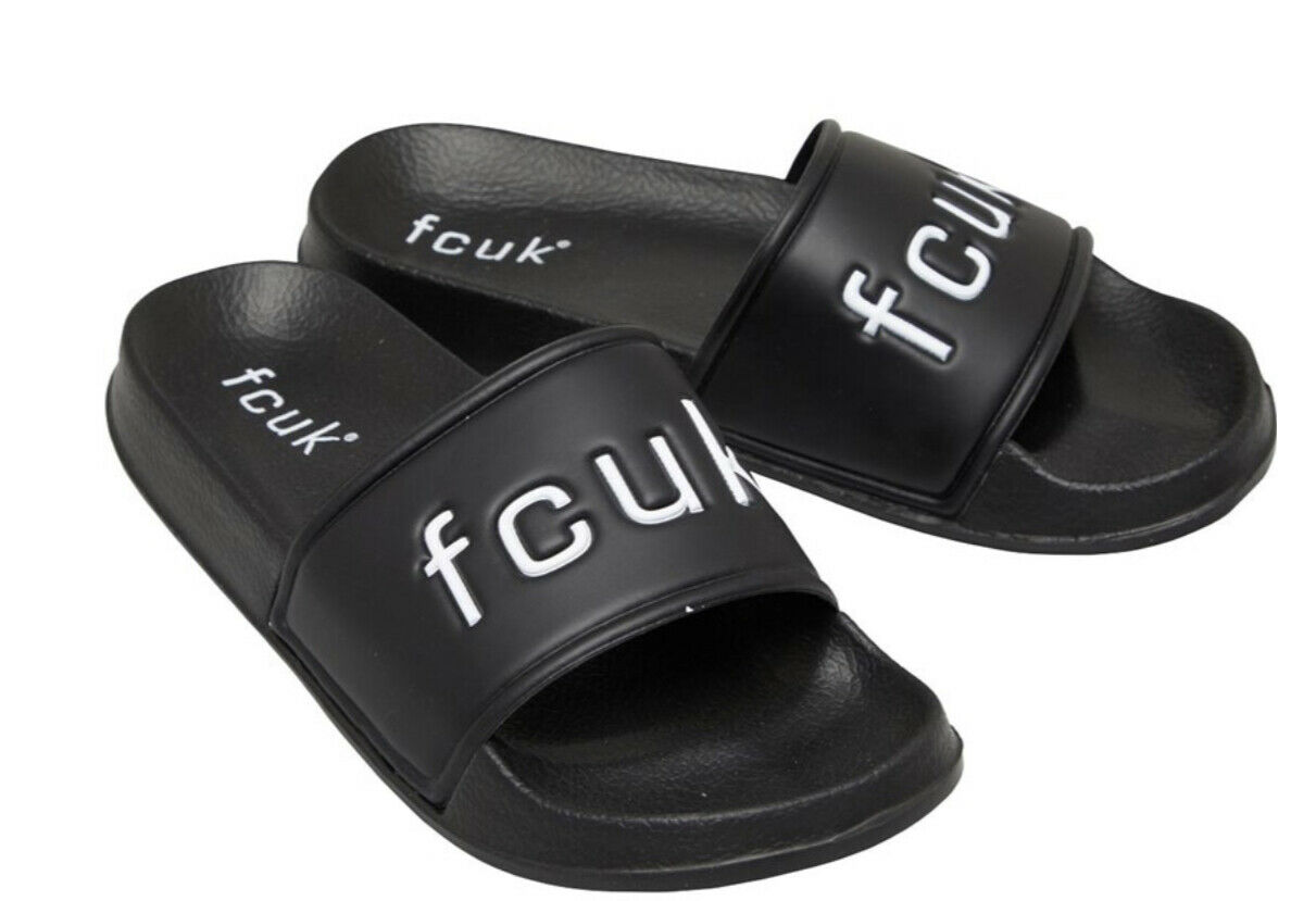 French Connection Mens Fcuk branded Contoured Black/White Sandals Size 10 new