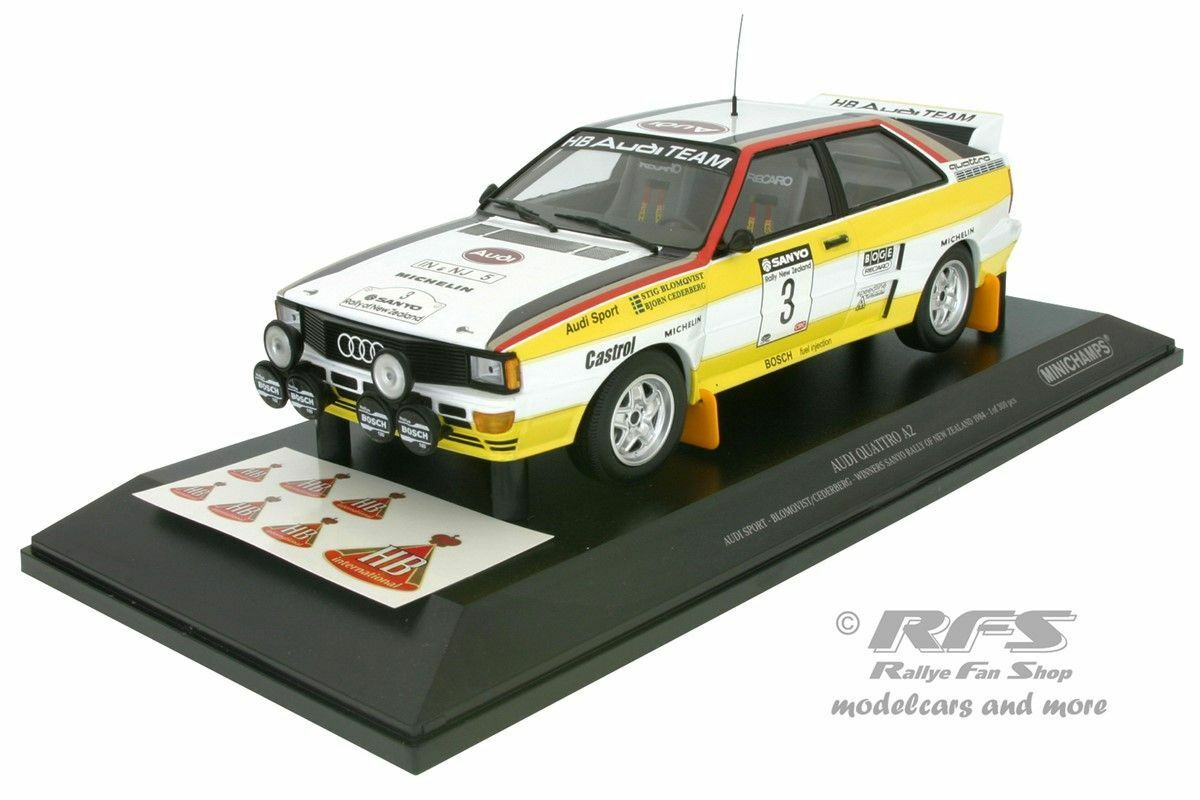 Audi Quattro HB Rallye Nouvelle-Zélande 1984 Stig Stig Stig Blomqvist 1 18 Minichamps 155841103 16c583