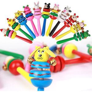 Tier-Rassel-Baby-Kinder-Handbells-musikalische-Entwicklungs-Holzspielzeug-ZD