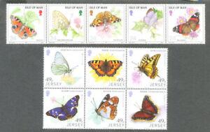 Strict Papillons 2 Ensembles Jersey Et Isle Of Man Neuf Sans Charnière-afficher Le Titre D'origine GuéRir La Toux Et Faciliter L'Expectoration Et Soulager L'Enrouement